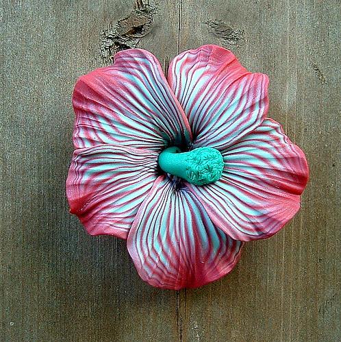 Raspberry and Mint Hibiscus Pendant | ZudaGay Pease | Flickr