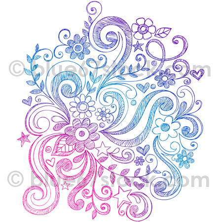 Hand Drawn Sketchy Flowers And Swirls Doodle Vector Illust