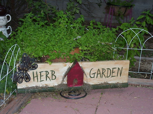 herb garden got this cute herb garden sign embelished it