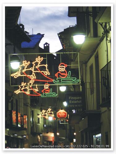 Fa015 foto icono santa claus con renos luces de navidad de - Renos de navidad con luces ...