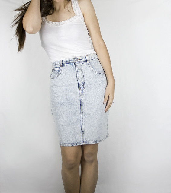 Vintage Acid Wash Denim Skirt | See my profile to visit my E… | Flickr