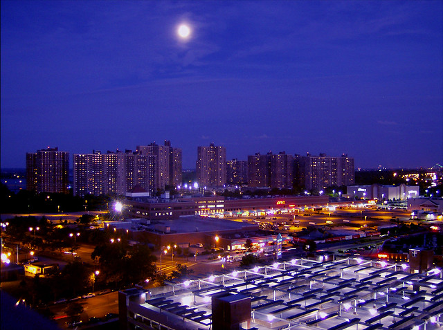 Co Op City Lights The Moon Hangs Over Section Five Of Co