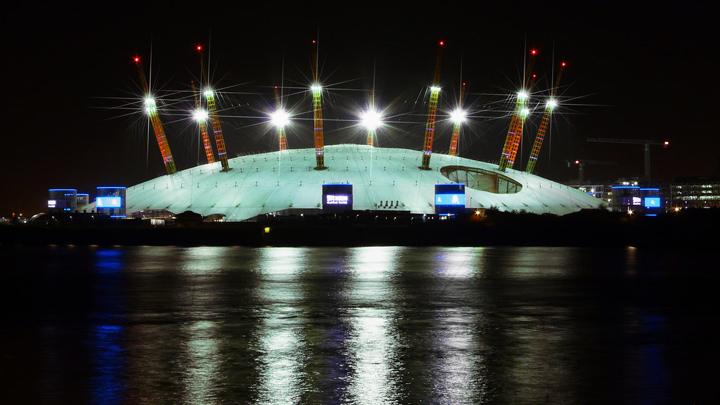 the o2 arena millennium dome greenwich london at night. Black Bedroom Furniture Sets. Home Design Ideas