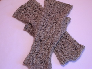 Handspun Leafprints mitts | by indigomuse