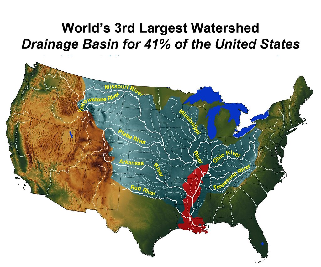 Worlds Rd Largest Watershed The Mississippi River Has Th Flickr - Mississippi missouri river world map
