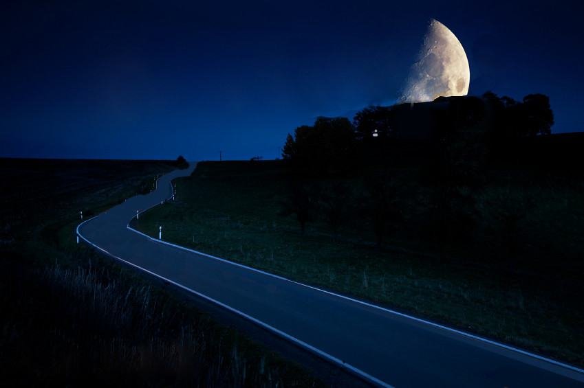 country road by moonlight