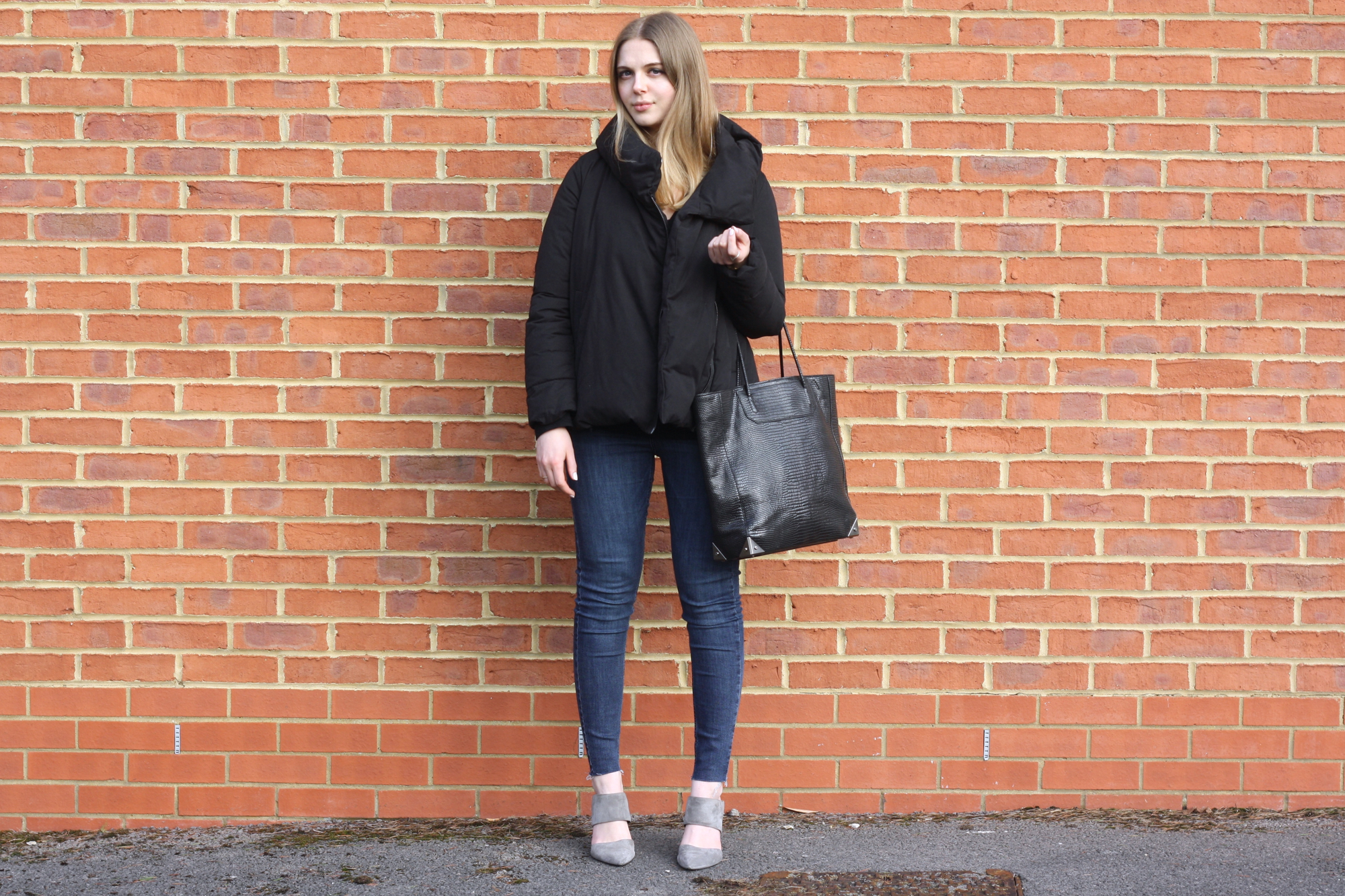Zara black duvet coat, Alexander Wang Prisma tote and Whistles grey suede heels