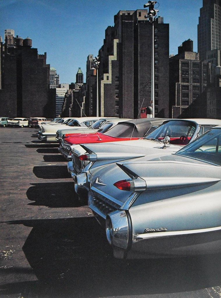 New york city early 1960s rooftop parking garage vintage c for Ny city parking garages