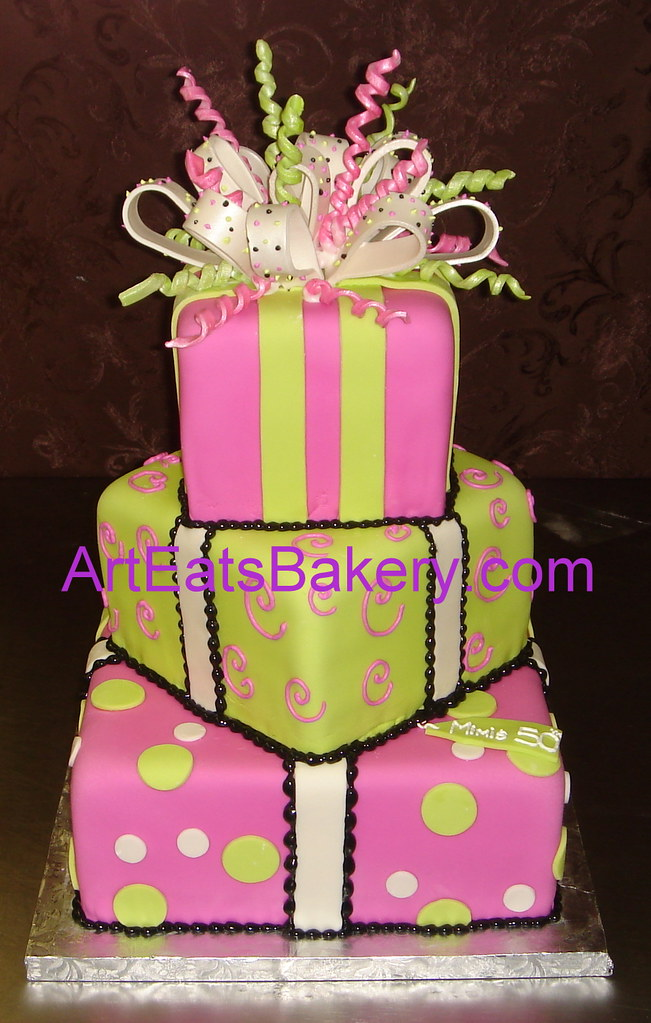 Three Tier Square Fondant Birthday Cake With Green And Pin