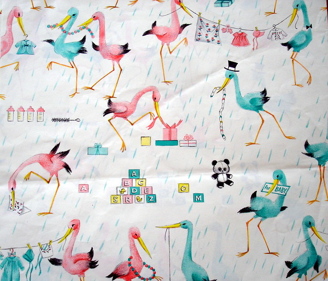 Vintage Baby Shower Wrapping Paper Pink And Blue Storks Flickr