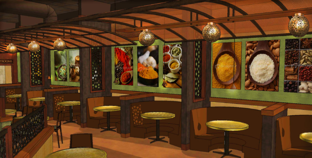 Restaurant interior design d rendering the