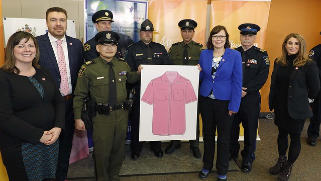 Pink Shirt Day pin supports anti-bullying programs