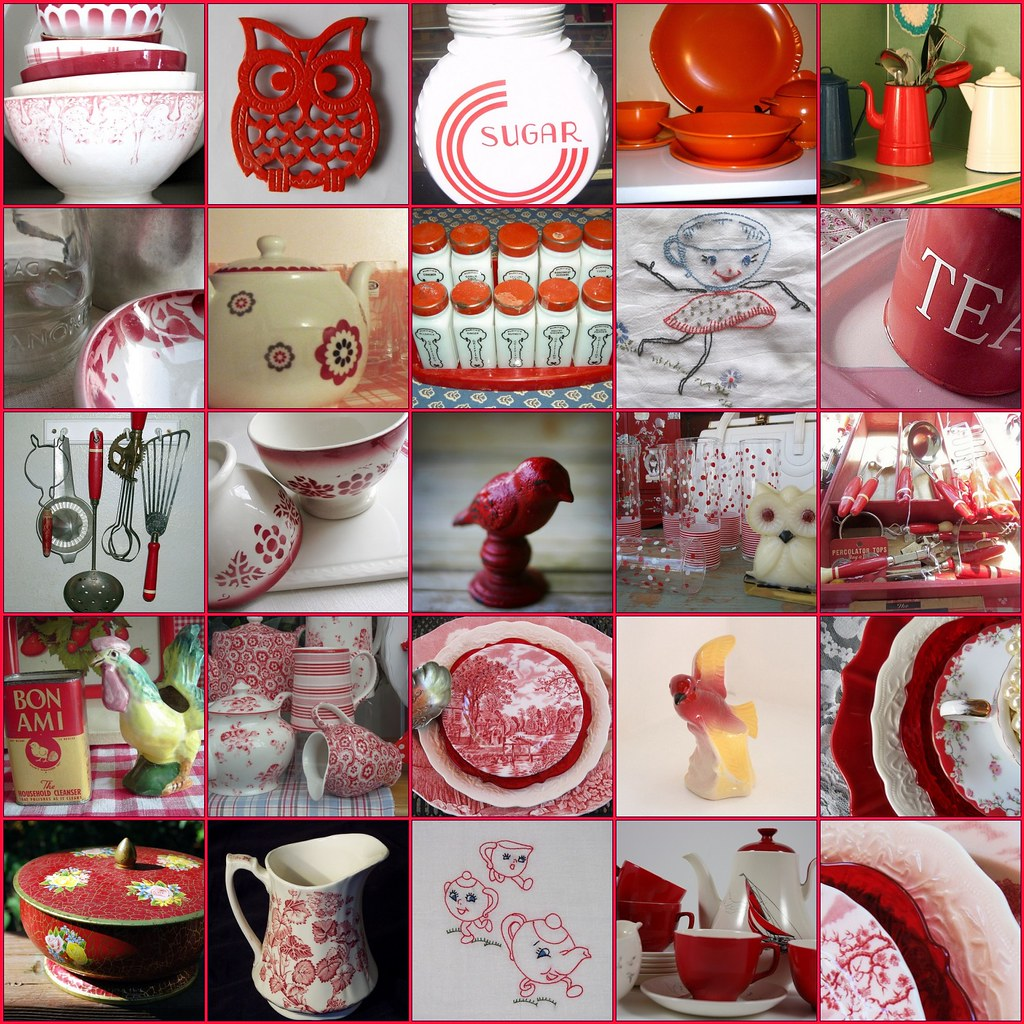 Vintage Red & White Kitchen FUN !