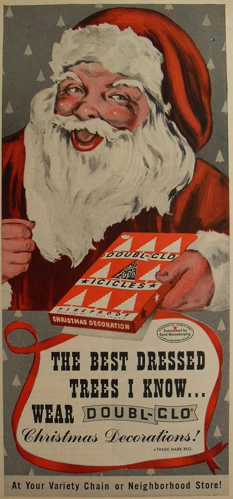 1940s doubl glo vintage christmas santa claus decoration advertisement illustration by christian montone - 1940s Christmas Decorations