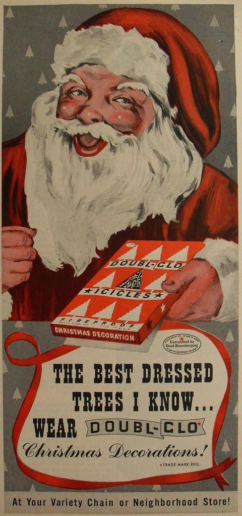 1940s doubl glo vintage christmas santa claus decoration advertisement illustration by christian montone - 1940s Christmas Decorations