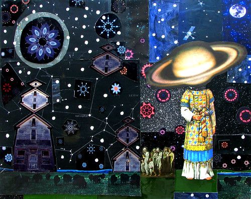 LARRY CARLSON, King of Saturn, 2009, collage and flashe paint on board, 18inX24in. | by LARRY  CARLSON