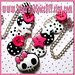 Punky Skull and Bow Button Charm Necklace