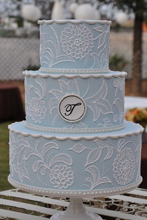 Vintage Inspired Wedding Cake w/ Monogram | by Designer Cakes By April