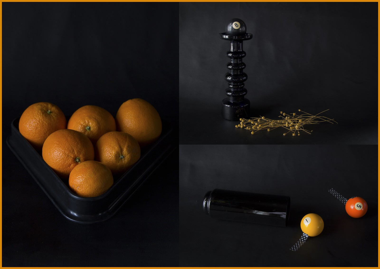 Värikollaasi: Musta, oranssi, keltainen