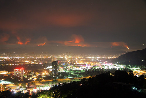 "The La Cañada Flintridge ""Station fire"" as viewed from Mulholland Drive in Los Angeles. Most of the brush has not burned in 60 years. 