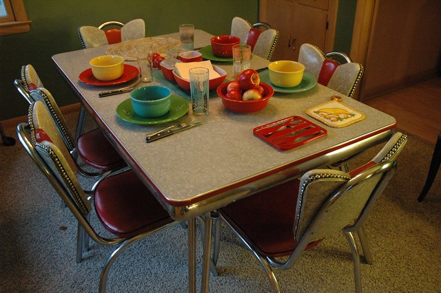 1950 Kitchen Table And Chairs Retro Kuehne Khrome Kitchen Table - Set Up for Dinner ...