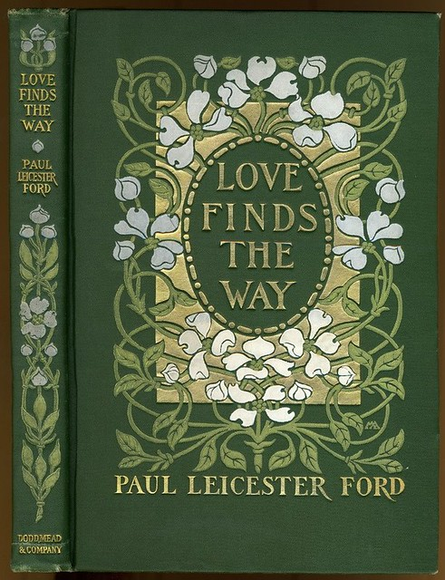 Book Cover Art Nouveau : Love finds the way green cloth with pale gold