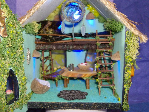 Inside the fairy house | Table, 2 chairs, Ladder leading