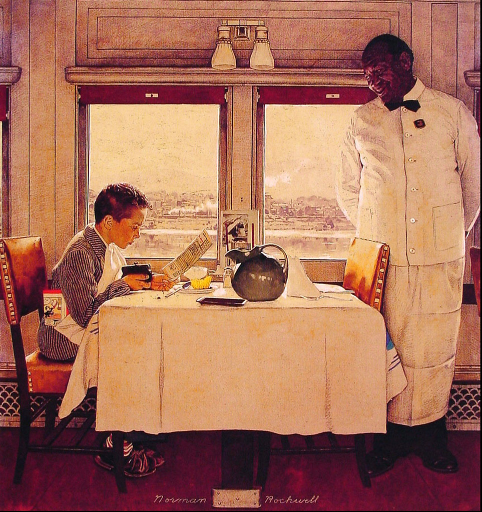 1947 Boy In A Dining Car By Norman Rockwell