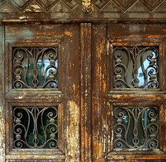 Hungarian Art Nouveau door in decay