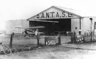Qantas hangar and biplane at Charleville airport, ca. 1930 | by State Library of Queensland, Australia