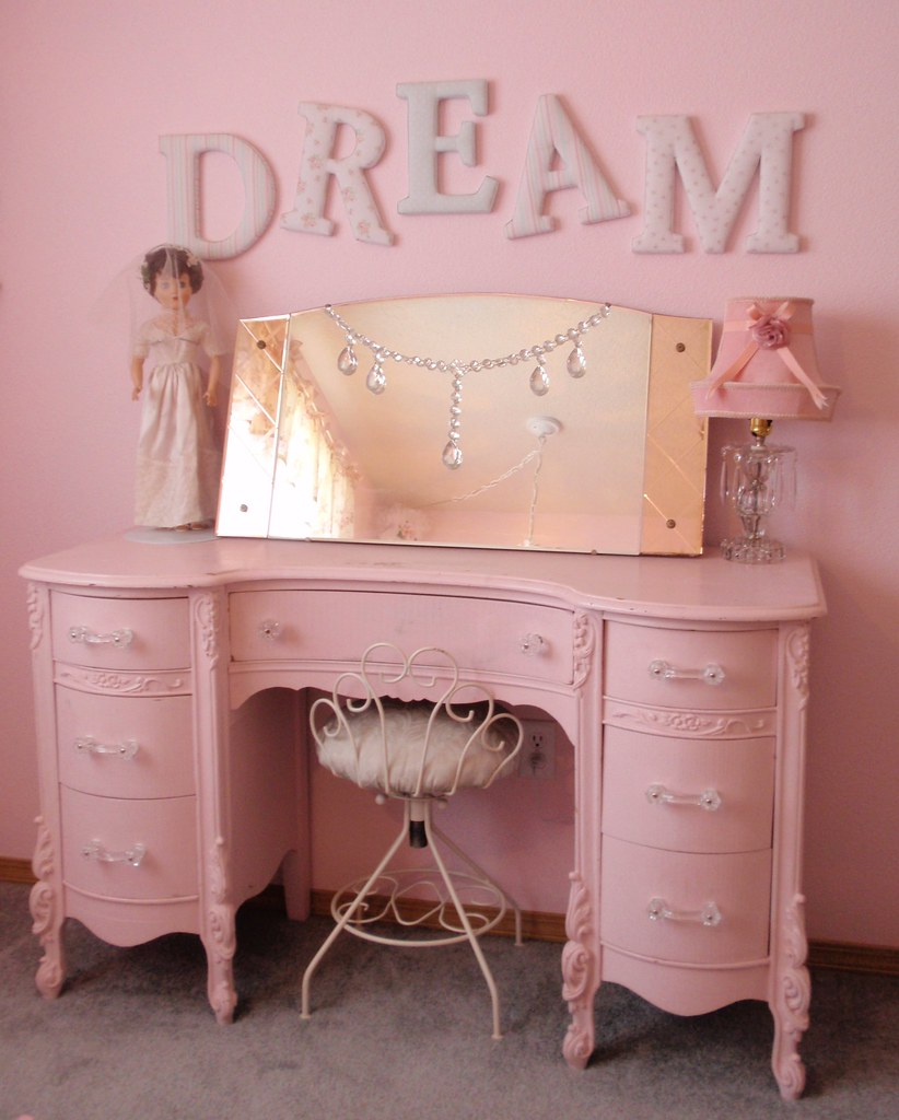 Simply Shabby Chic DREAM Letters Pink Vanity Dresser