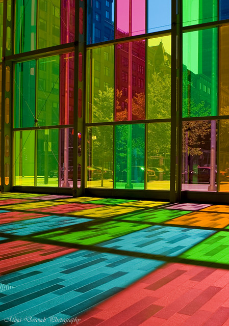 Palais Des Congres Colored Glass Wall In The Palais Des