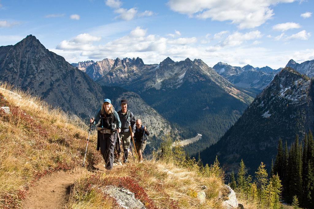 Hikers ascending