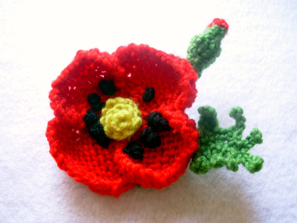Knitting Pattern For Poppy Brooch : Knit and Crochet Red Poppy Brooch Pin flowersbyirene Flickr