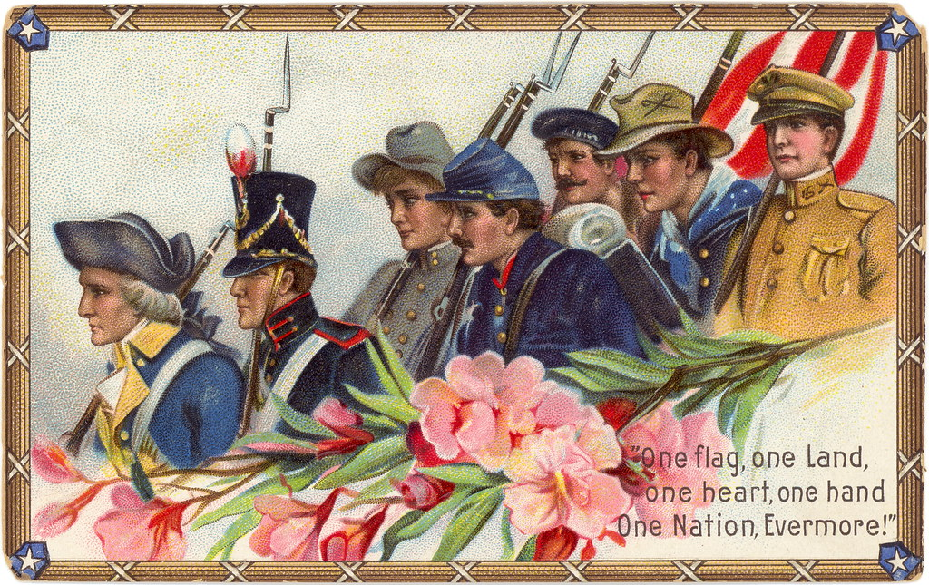 chromolithograph printed and embossed patriotic postcard