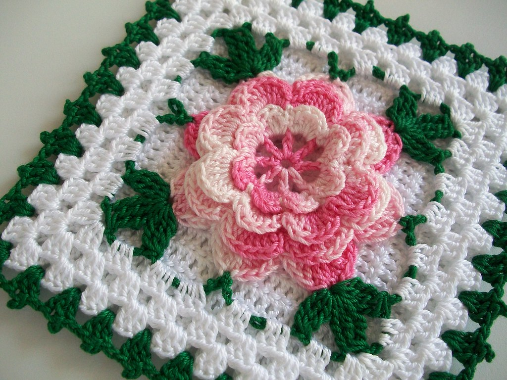 Free Crochet Rose Square Pattern : Crochet Potholder in Thread with Rose Flower in Shaded Pin ...