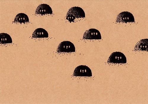 クラフト紙37_砂の穴の入口にいる黒プレーン