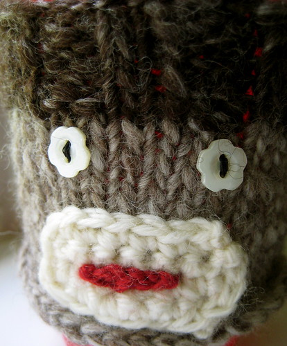Sock Monkey Cup Cozy | by Twisted Knitter