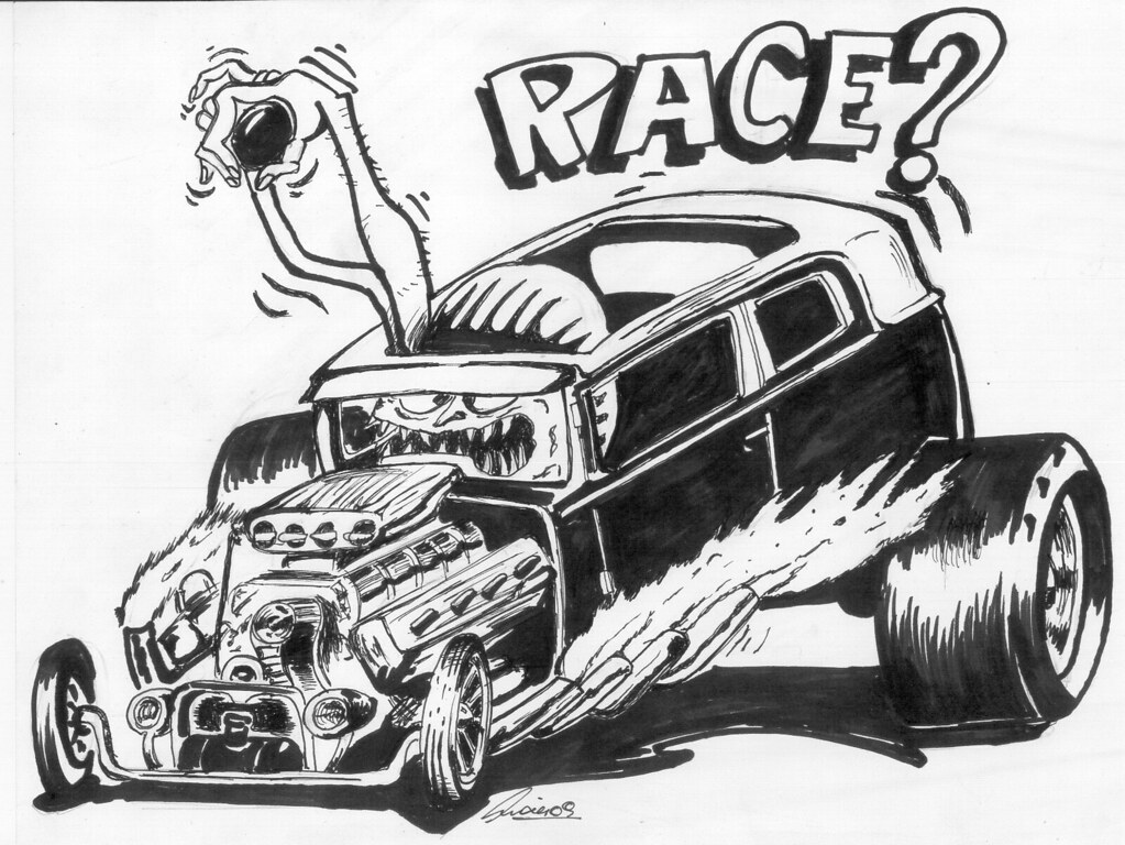 Black And White Race Car Prints