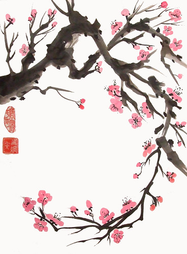 Curving Plum Branch Original Painting Done On Japanese