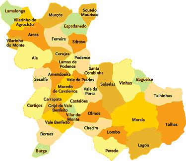 macedo de cavaleiros mapa Concelho de Macedo de Cavaleiros | Mapa das freguesias | Jorge  macedo de cavaleiros mapa
