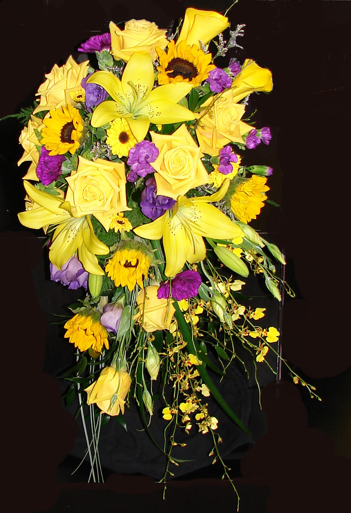 Yellow and purple wedding bouquet with lilies roses sunf flickr yellow and purple wedding bouquet with lilies roses sunflowers orchids and callas mightylinksfo