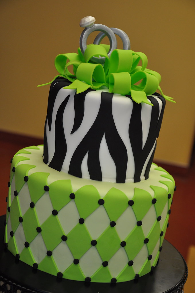 Green & Zebra Engagement Party Cake w/ Gum Paste Rings ...