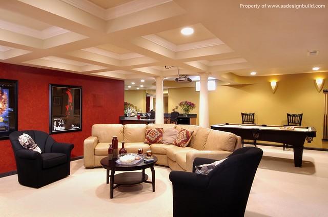 Basement remodeling ceiling for theater room design