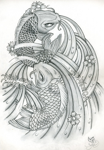 Japanese Tattoo Line Drawing : Japanese koi tattoo art one of my carp drawings
