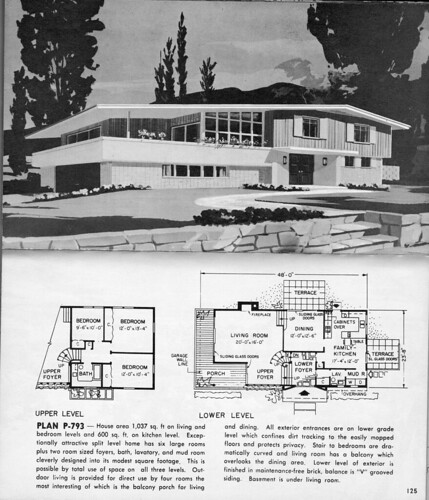 Split level plan p 793 1963 i would love to have this for Home design 60s