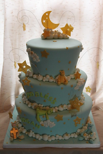 Moon Stars And Clouds Baptism Cake Marble Cake Filled