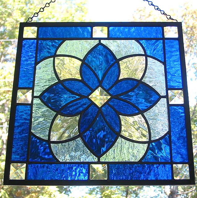 Cobalt blue star beveled stained glass window panel flickr for Window shapes and designs