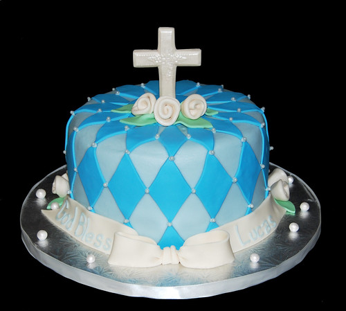Baby Lucas Blue And Cream Baptism Cake Cross Front View