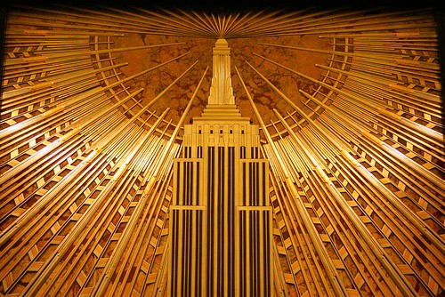 Empire state building lobby mural detail detail of the for Empire state building art deco interior